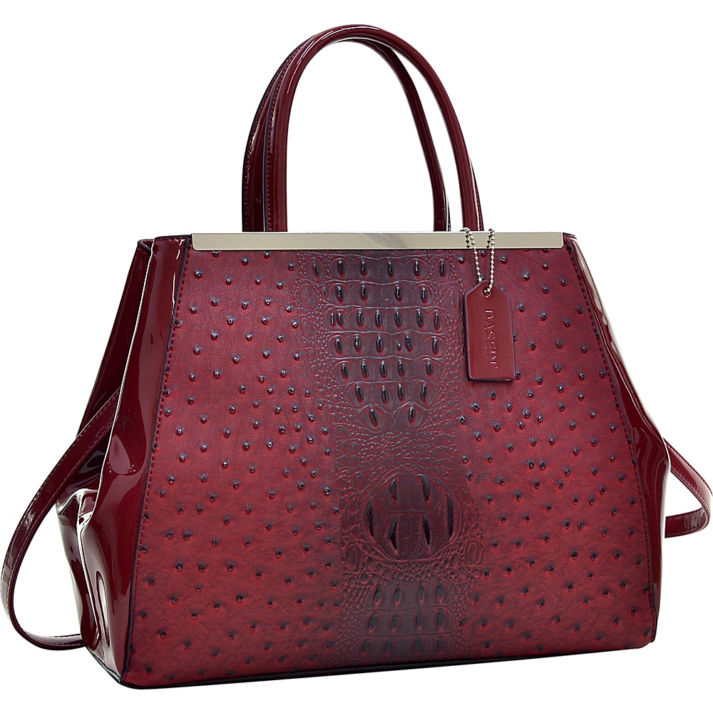 Dasein Structured Ostrich Faux Leather Satchel with Shoulder Strap Red - Dasein Manmade Handbags - Handbags, Manmade Handbags