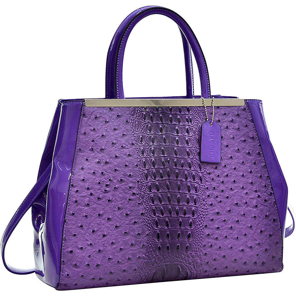Dasein Structured Ostrich Faux Leather Satchel with Shoulder Strap Purple - Dasein Manmade Handbags - Handbags, Manmade Handbags