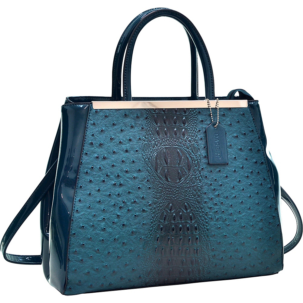 Dasein Structured Ostrich Faux Leather Satchel with Shoulder Strap Teal Blue - Dasein Manmade Handbags - Handbags, Manmade Handbags