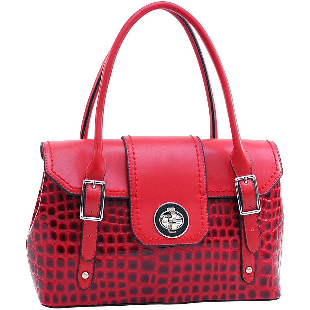 Dasein Patent Croco Fashion Satchel with Twist Lock Closure Red - Dasein Manmade Handbags - Handbags, Manmade Handbags