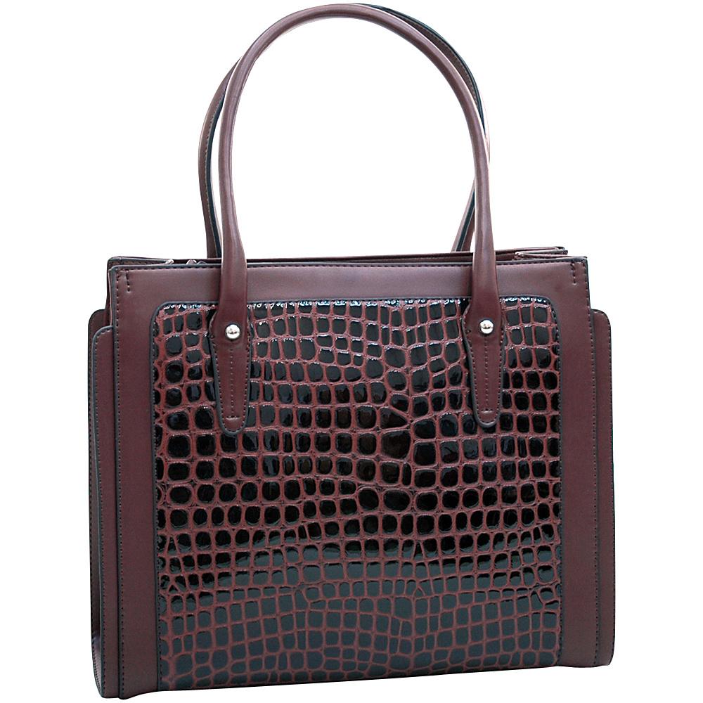 Dasein Womens Boxy Fashion Patent Croco Tote Coffee - Dasein Manmade Handbags - Handbags, Manmade Handbags