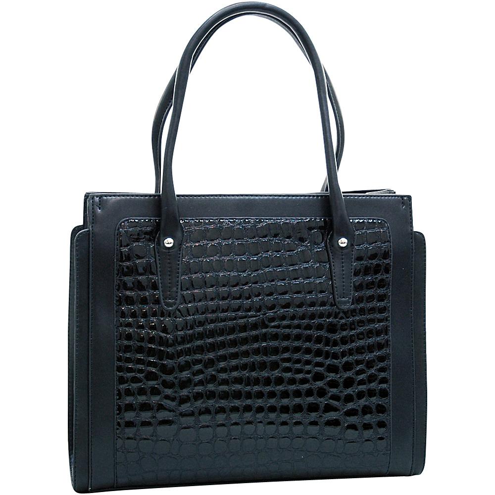 Dasein Womens Boxy Fashion Patent Croco Tote Black - Dasein Manmade Handbags - Handbags, Manmade Handbags