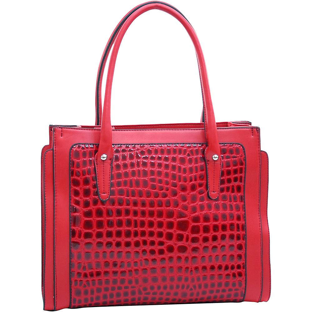 Dasein Womens Boxy Fashion Patent Croco Tote Red - Dasein Manmade Handbags - Handbags, Manmade Handbags