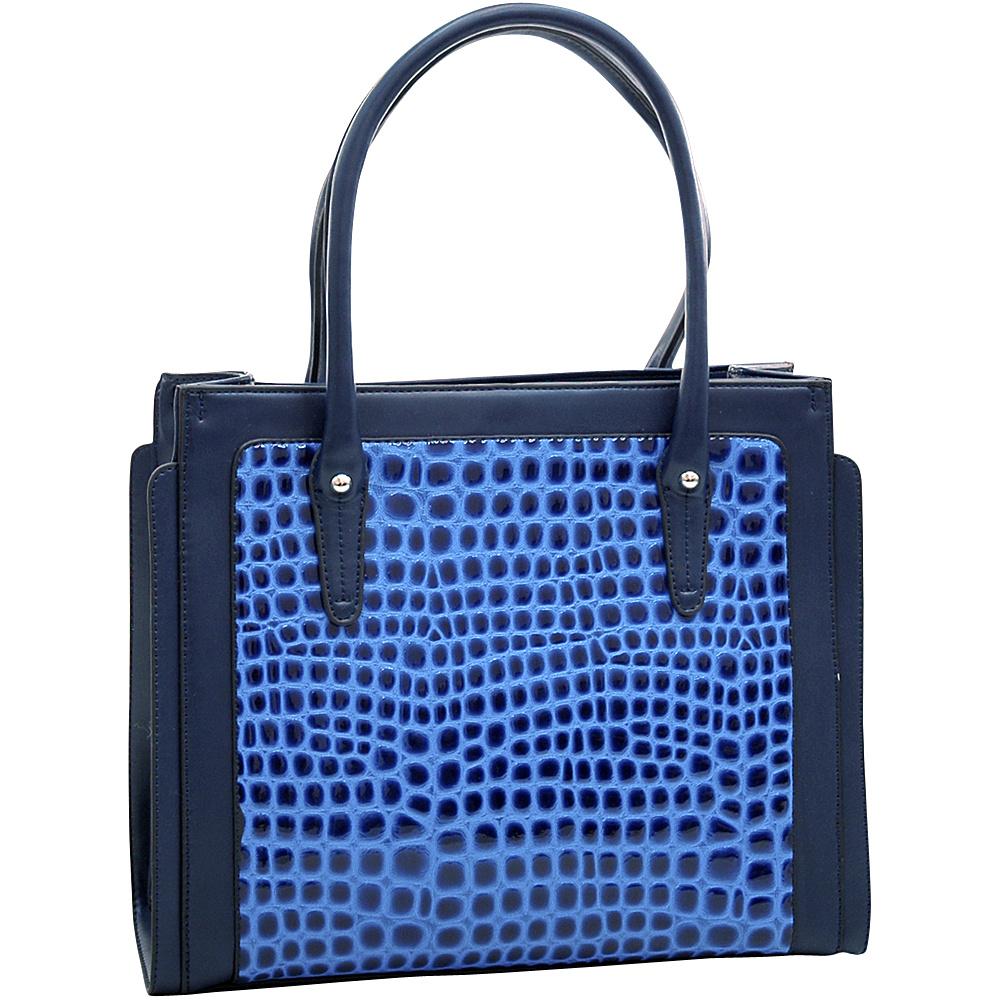 Dasein Womens Boxy Fashion Patent Croco Tote Blue - Dasein Manmade Handbags - Handbags, Manmade Handbags