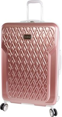 BEBE Stella 29 inch Hardside Spinner Checked Luggage Rose Gold - BEBE Hardside Checked