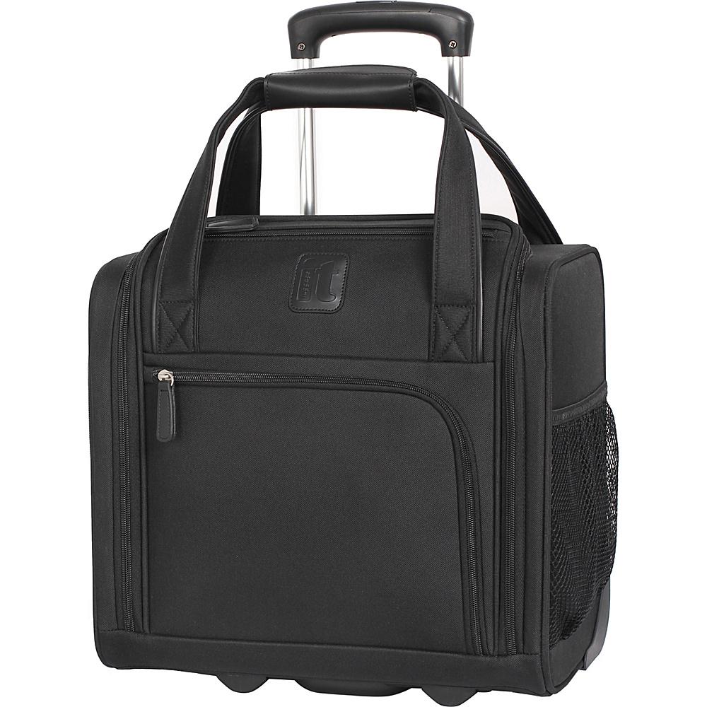 it luggage Catwalk 2 Wheel Underseat Carry On Luggage Black with Grey - it luggage Softside Carry-On