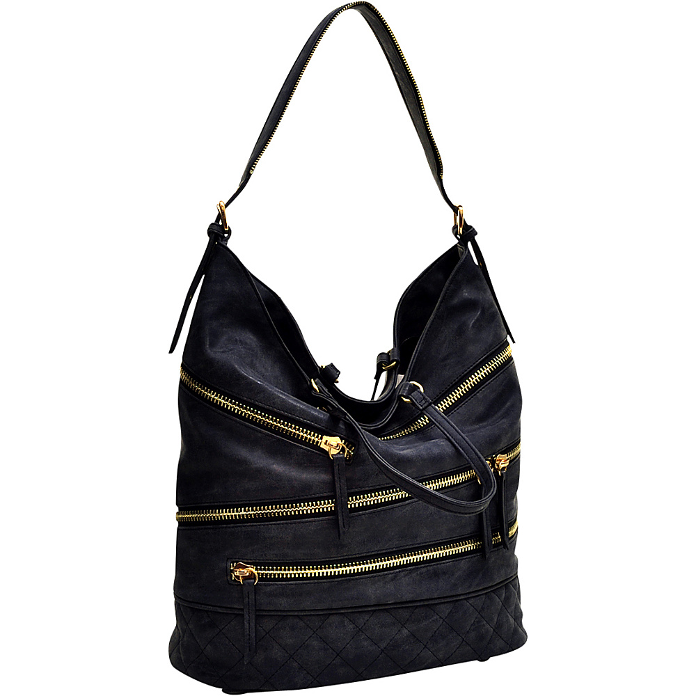 Dasein Gold-Tone Quilted Hobo with Front Zipper Decoration Black - Dasein Manmade Handbags - Handbags, Manmade Handbags