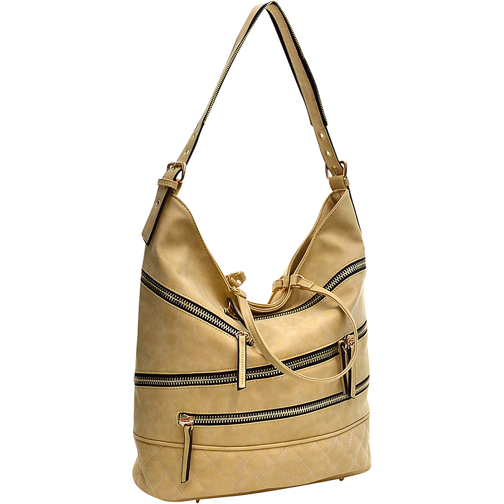 Dasein Gold-Tone Quilted Hobo with Front Zipper Decoration Yellow - Dasein Manmade Handbags - Handbags, Manmade Handbags