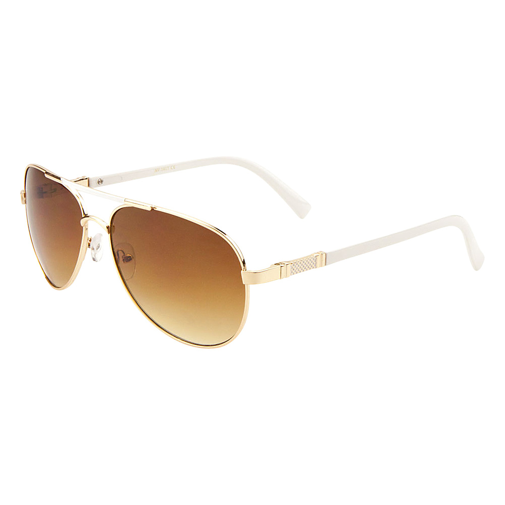 SW Global Cher Double Bar Aviator Fashion Sunglasses Gold-White - SW Global Eyewear - Fashion Accessories, Eyewear
