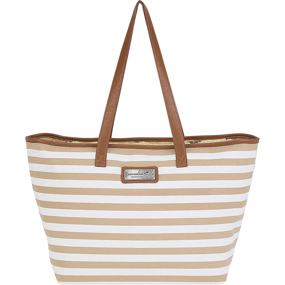 Sun N Sand Nautical Stripes Shoulder Tote Tan - Sun N Sand Fabric Handbags - Handbags, Fabric Handbags
