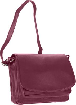 R & R Collections Full Flap Organizer Shoulder Bag Burgundy - R & R Collections Leather Handbags