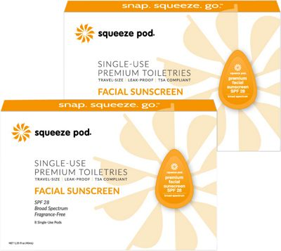 Squeeze Pod Single Use Natural Facial Sunscreen - SPF 28 Broad Spectrum - 16 Single Use Pods Yellow - Squeeze Pod Travel Comfort and Health