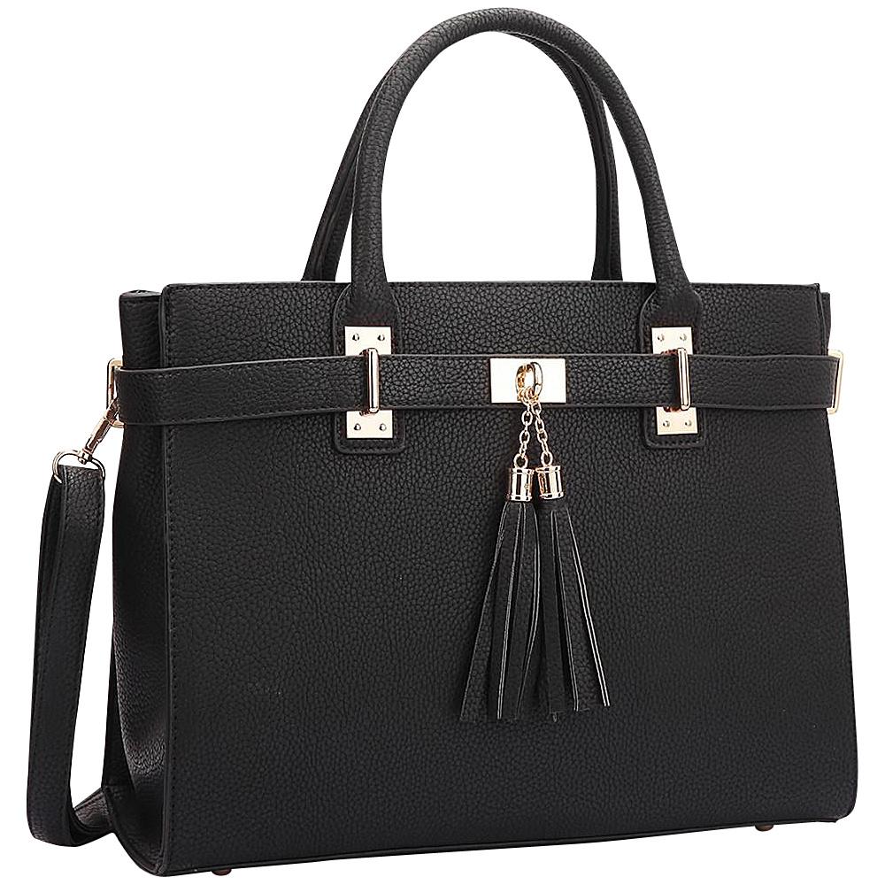 Dasein Double Tassel Satchel Black - Dasein Manmade Handbags - Handbags, Manmade Handbags
