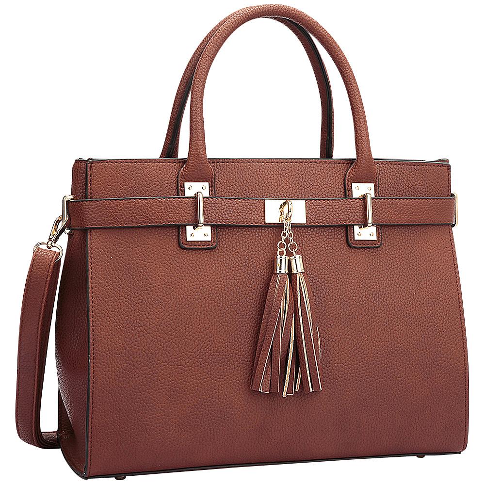 Dasein Double Tassel Satchel Brown - Dasein Manmade Handbags - Handbags, Manmade Handbags