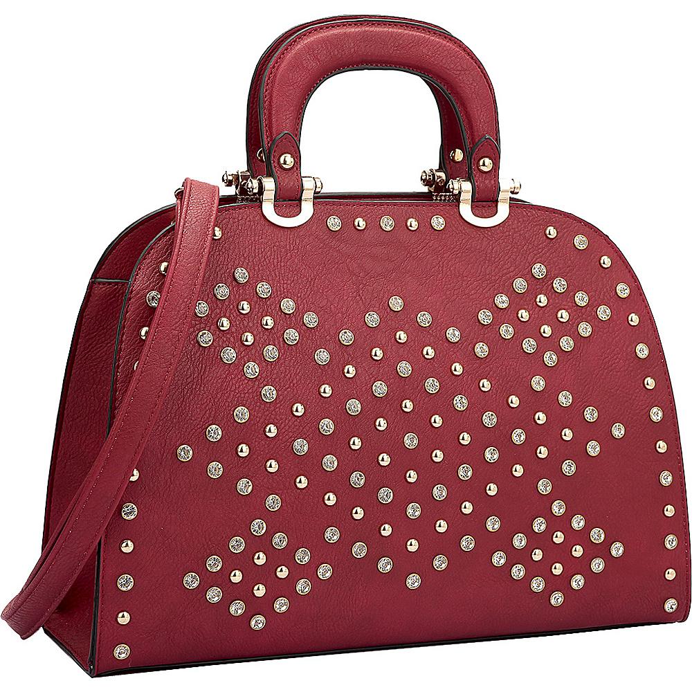 Dasein Trendy Rhinestone and Studs Princess Satchel Red - Dasein Manmade Handbags - Handbags, Manmade Handbags