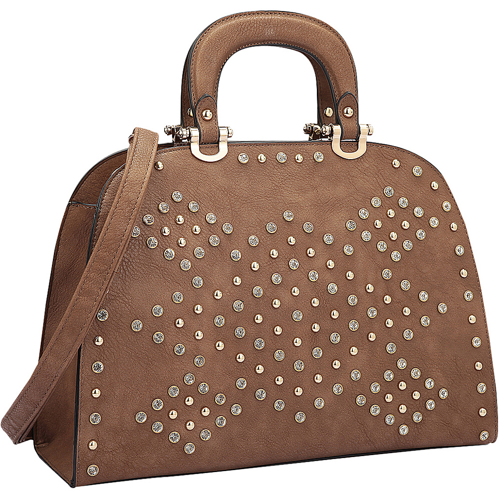 Dasein Trendy Rhinestone and Studs Princess Satchel Brown - Dasein Manmade Handbags - Handbags, Manmade Handbags