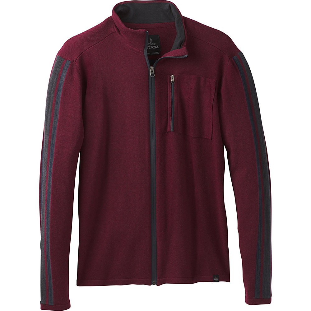 PrAna Holberg Full Zip Sweater L - Nocturnal Red - PrAna Mens Apparel - Apparel & Footwear, Men's Apparel