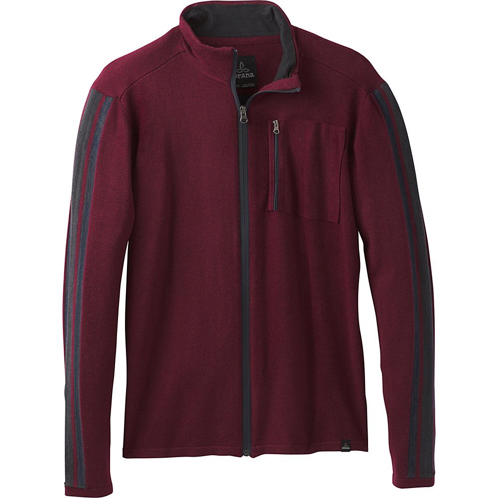 PrAna Holberg Full Zip Sweater S - Nocturnal Red - PrAna Mens Apparel - Apparel & Footwear, Men's Apparel