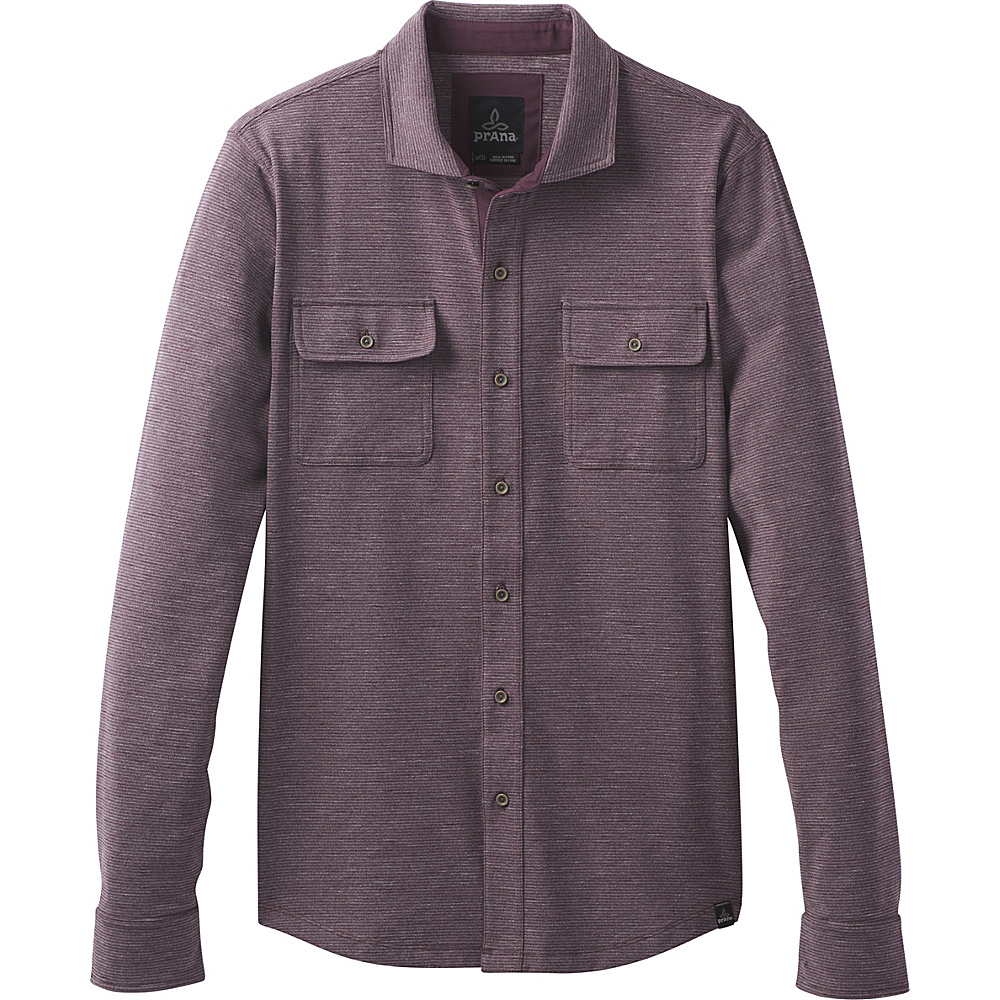 PrAna Pacer Long Sleeve Button Down Shirt L - Dark Plum - PrAna Womens Apparel - Apparel & Footwear, Women's Apparel