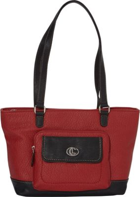 Aurielle-Carryland Flip Flap Shoppers Tote Red/Black - Aurielle-Carryland Manmade Handbags
