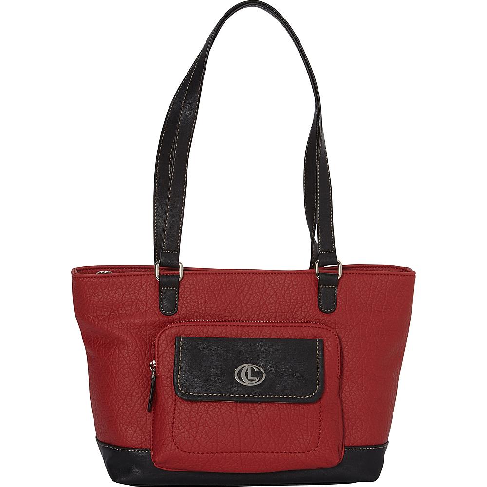 Aurielle Carryland Flip Flap Pers Tote Red Black Manmade Handbags