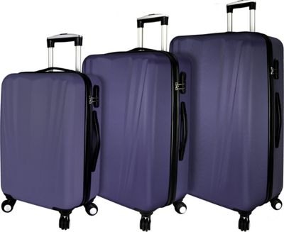 Elite Luggage Tara 3 Piece Hardside Spinner Luggage Set Purple - Elite Luggage Luggage Sets