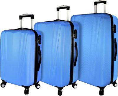 Elite Luggage Tara 3 Piece Hardside Spinner Luggage Set Blue - Elite Luggage Luggage Sets