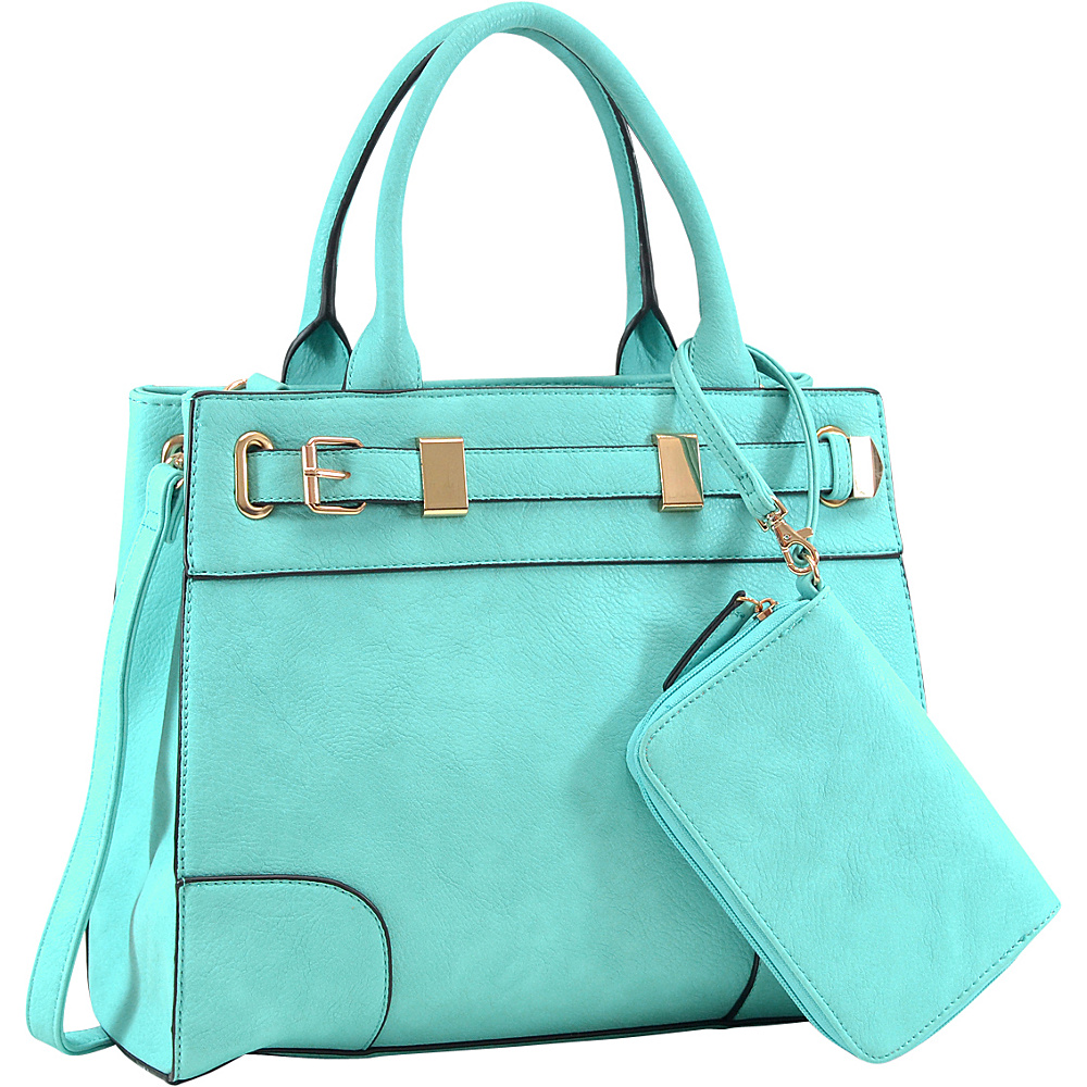 Dasein Front Belted Gold Plated Hinge Medium Satchel with Detachable Matching Wristlet Turquoise - Dasein Manmade Handbags - Handbags, Manmade Handbags
