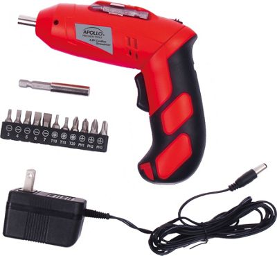 Apollo Tools 4.8 Volt Rechargeable Cordless Screwdriver Red - Apollo Tools Sports Accessories