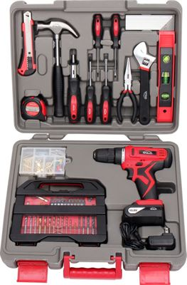 Apollo Tools 143 Piece Household Tool Kit with 10.8 V Lithium-Ion Cordless Drill Red - Apollo Tools Sports Accessories