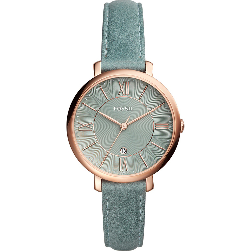Fossil Jacqueline Three-Hand Date Sage Green Leather Watch Sage Green(Sage Green) - Fossil Watches - Fashion Accessories, Watches