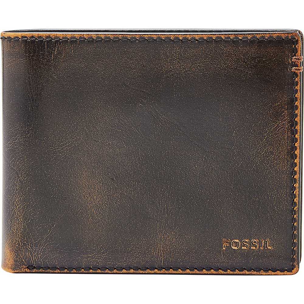 Fossil Wade Large Coin Pocket Bifold Black - Fossil Mens Wallets - Work Bags & Briefcases, Men's Wallets