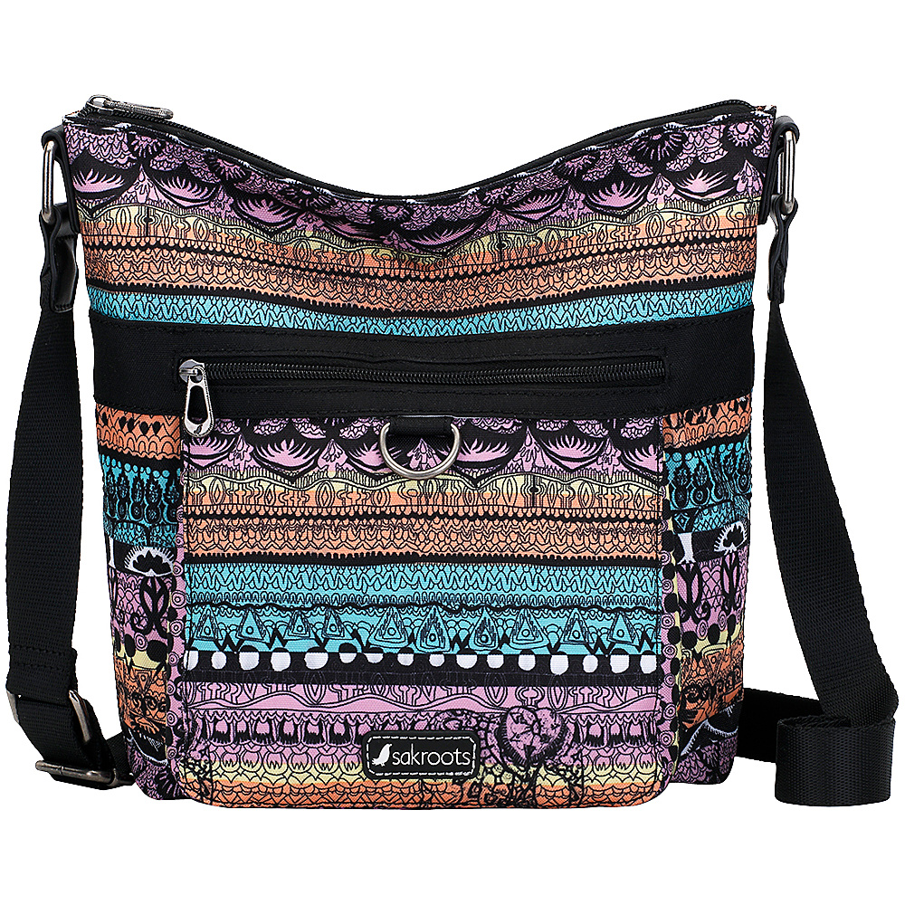 Sakroots New Adventure Kilo Top Zip Crossbody Sherbet One World - Sakroots Fabric Handbags - Handbags, Fabric Handbags