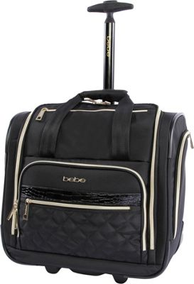 BEBE Leena Under the Seat Carry-On Rolling Tote Black - BEBE Softside Carry-On