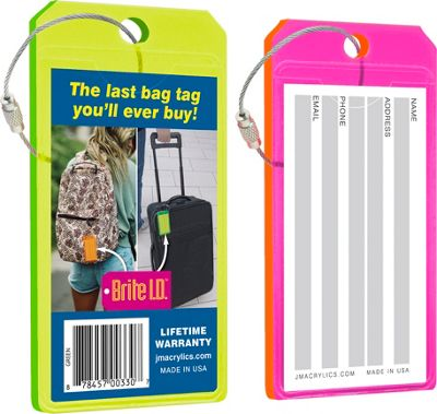 Brite I.D. Luggage/Bag Tags Combo 2 Pack Green/Pink - Brite I.D. Luggage Accessories