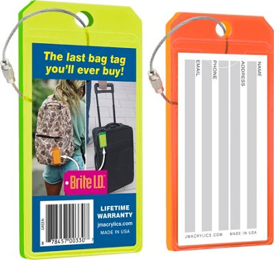 Brite I.D. Luggage/Bag Tags Combo 2 Pack Green/Orange - Brite I.D. Luggage Accessories