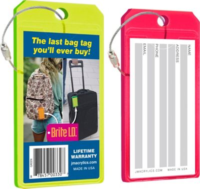 Brite I.D. Luggage/Bag Tags Combo 2 Pack Green/Red - Brite I.D. Luggage Accessories