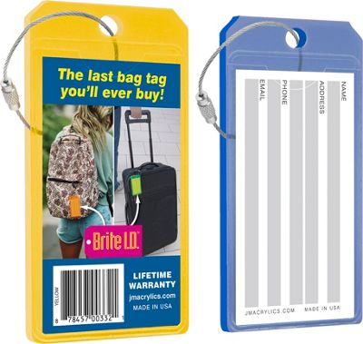 Brite I.D. Luggage/Bag Tags Combo 2 Pack Blue/Yellow - Brite I.D. Luggage Accessories