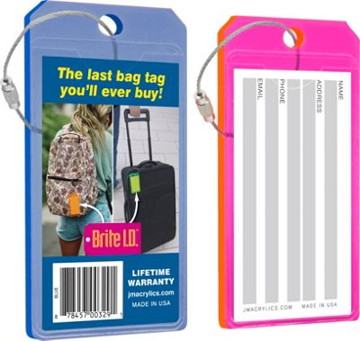 Brite I.D. Luggage/Bag Tags Combo 2 Pack Blue/Pink - Brite I.D. Luggage Accessories