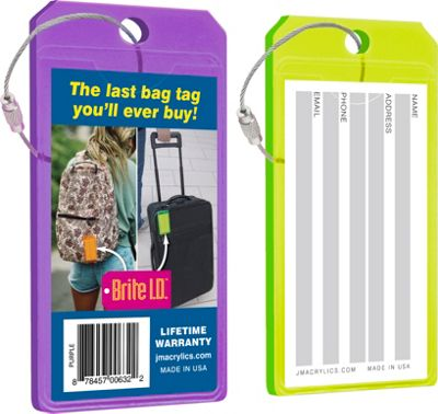 Brite I.D. Luggage/Bag Tags Combo 2 Pack Purple/Green - Brite I.D. Luggage Accessories