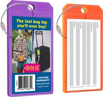 Brite I.D. Luggage/Bag Tags Combo 2 Pack Purple/Orange - Brite I.D. Luggage Accessories