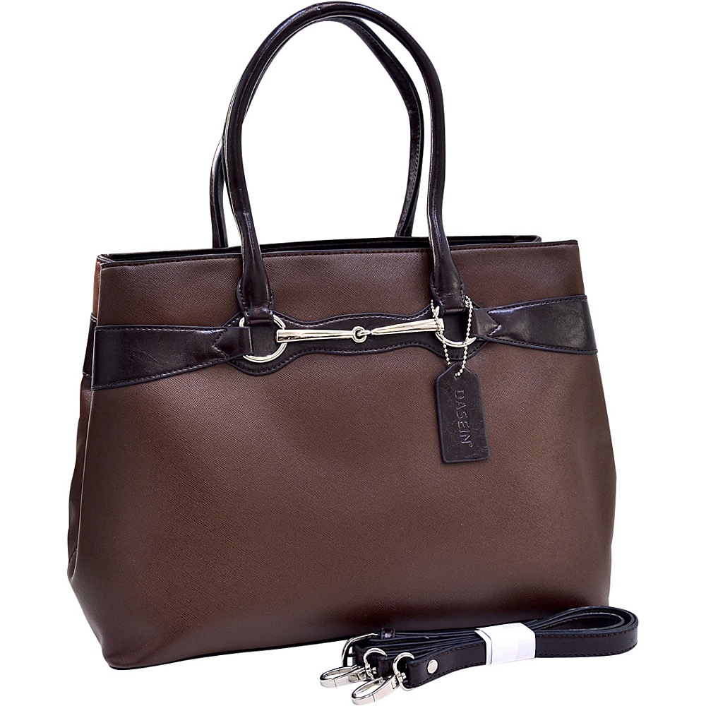 Dasein Loose Ring Snaffle Ostrich Texture Satchel Coffee - Dasein Manmade Handbags - Handbags, Manmade Handbags