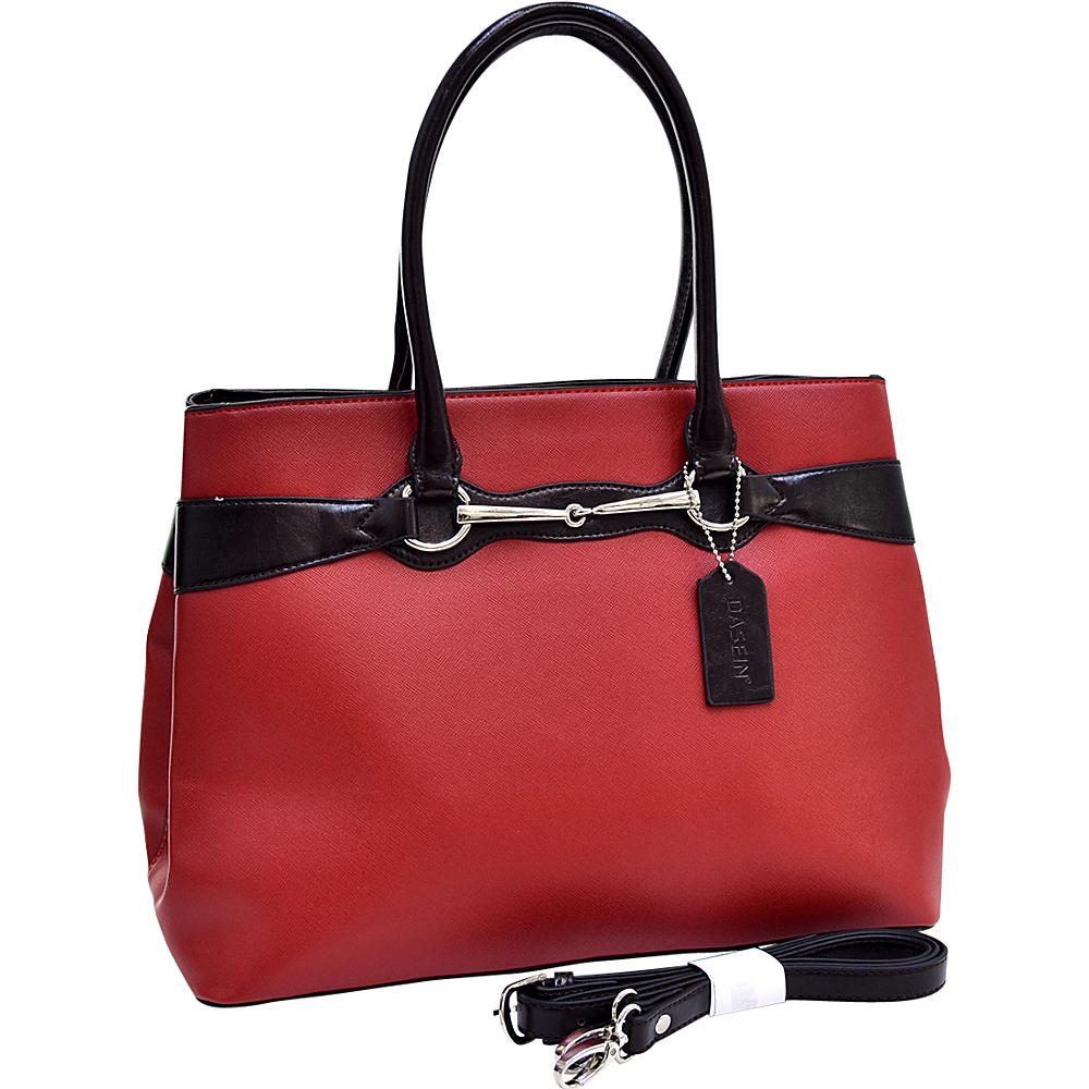 Dasein Loose Ring Snaffle Ostrich Texture Satchel Red - Dasein Manmade Handbags - Handbags, Manmade Handbags