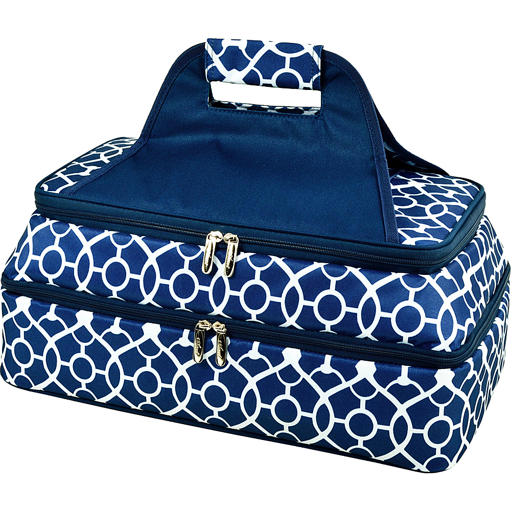 Picnic at Ascot Two Layer Hot/Cold Thermal Food & Casserole Carrier Trellis Blue - Picnic at Ascot Travel Coolers - Travel Accessories, Travel Coolers