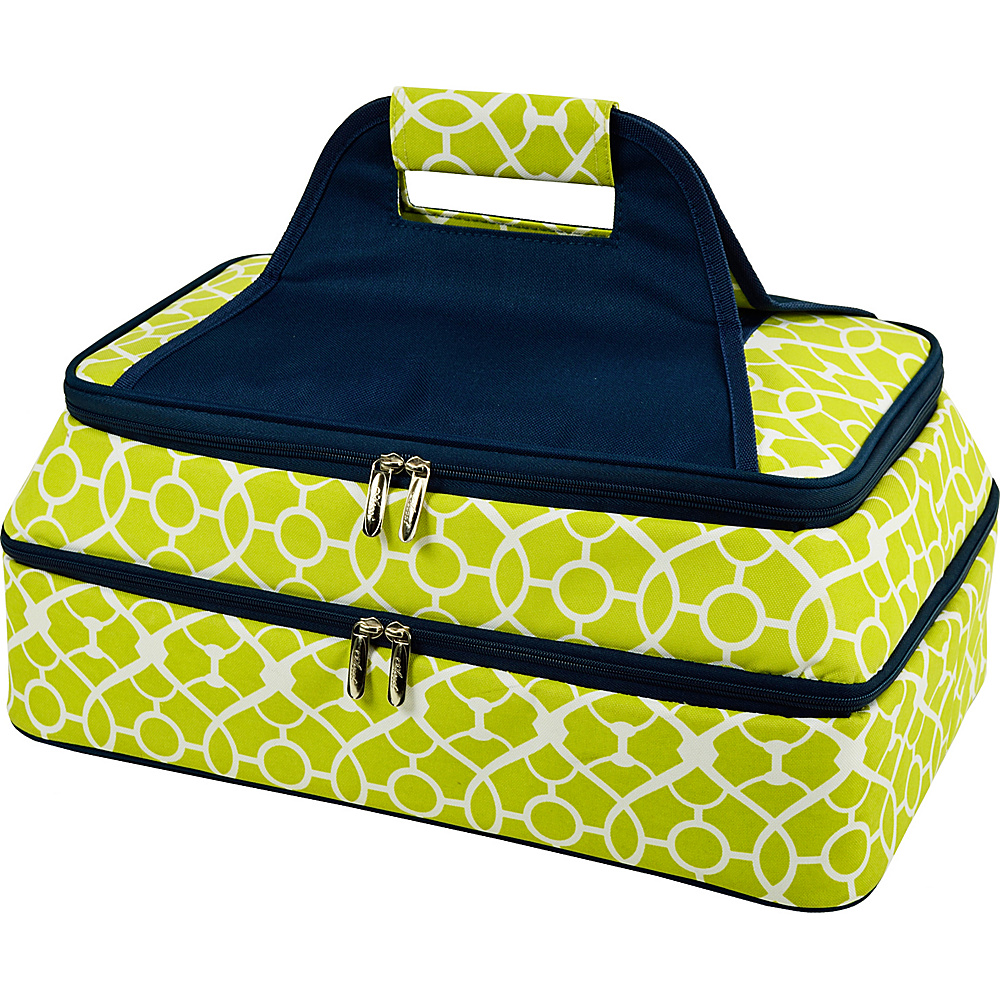 Picnic at Ascot Two Layer Hot/Cold Thermal Food & Casserole Carrier Trellis Green - Picnic at Ascot Travel Coolers - Travel Accessories, Travel Coolers