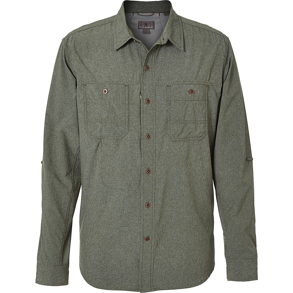 Royal Robbins Mens Long Distance Traveler Long Sleeve Shirt XXL - Climbing Ivy - Royal Robbins Mens Apparel - Apparel & Footwear, Men's Apparel