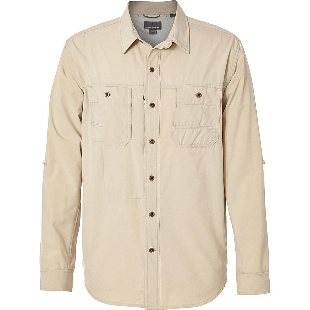 Royal Robbins Mens Long Distance Traveler Long Sleeve Shirt L-T - Light Khaki - Royal Robbins Mens Apparel - Apparel & Footwear, Men's Apparel