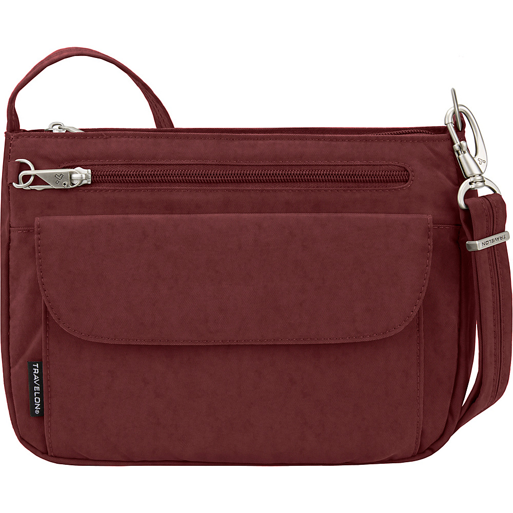 Travelon Anti-Theft Essential Crinkle East/West Crossbody Bag - Exclusive Burgundy/Black Flower Lining - Travelon Fabric Handbags - Handbags, Fabric Handbags