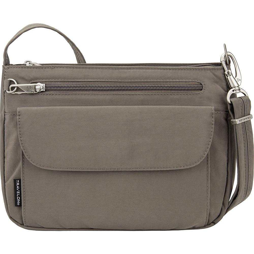 Travelon Anti-Theft Essential Crinkle East/West Crossbody Bag - Exclusive Mushroom/Golden Flower Lining - Travelon Fabric Handbags - Handbags, Fabric Handbags