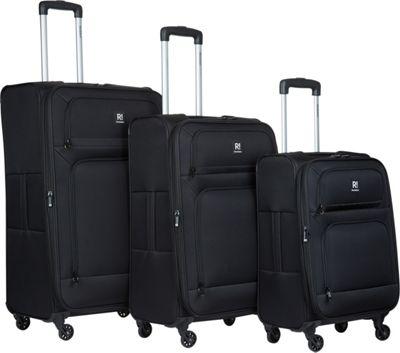 Revelation Remy Pro 3 Piece Expandable Spinner Luggage Set Black - Revelation Luggage Sets